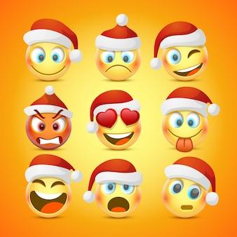 Emoji und trauriger neujahrshut-icon-set.