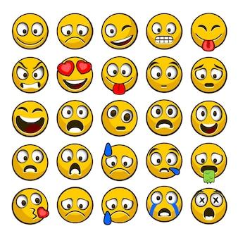 Emoji und trauriges icon-set.