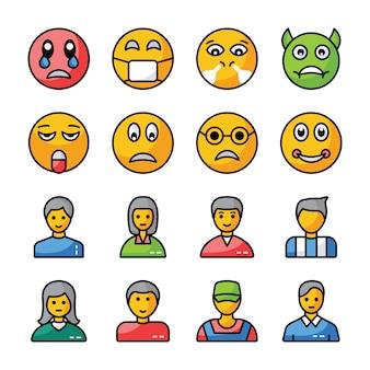 Emojis und avatare flat icons