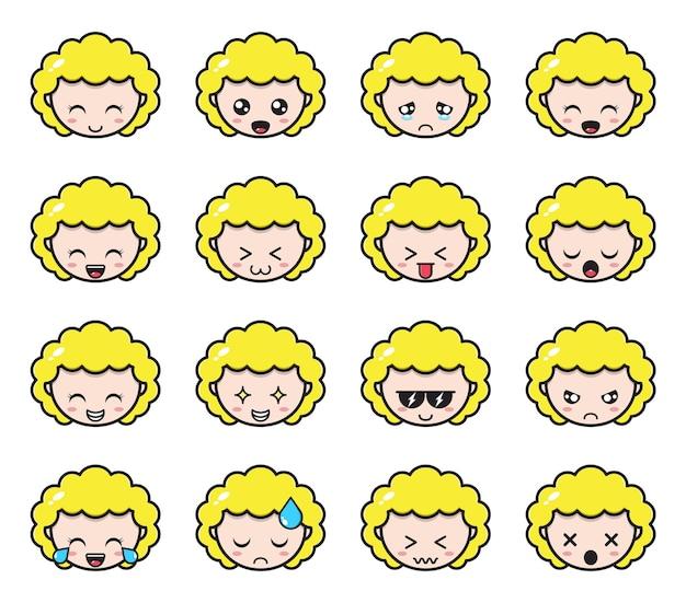 Emotes satz von süßen blonden mädchen