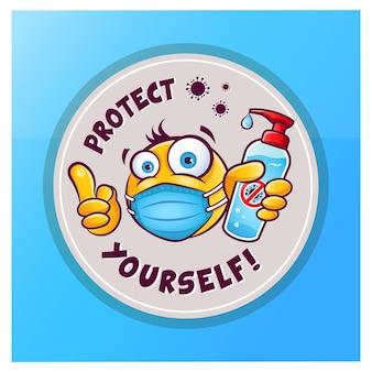 Emoticon-emoji mit medizinischer maske über dem mund, die handantiseptikum oder desinfektionsmittel-vektoraufkleber zeigt