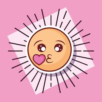 Emoticon kuss liebe cartoon-stil
