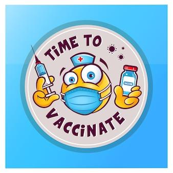 Emoticon mit medizinischer maske über mundflasche mit impfstoff und spritze für injektionsvektoraufkleber