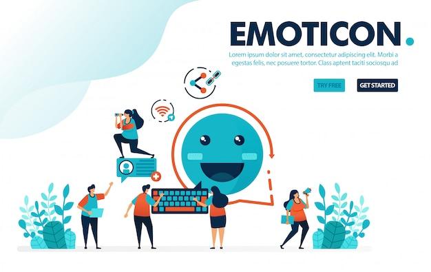 Emoticon-nachricht, menschen teilen nachrichten mit smiley-emoticons.