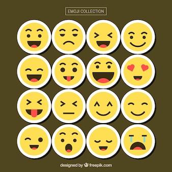 Emoticon sammlung mit verschiedenen gesichtern