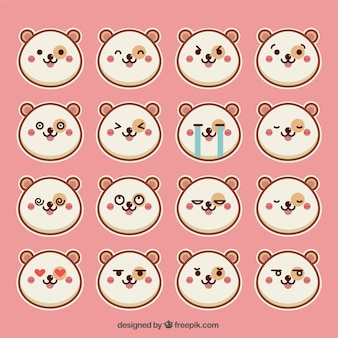 Emoticon-satz von runde hamster