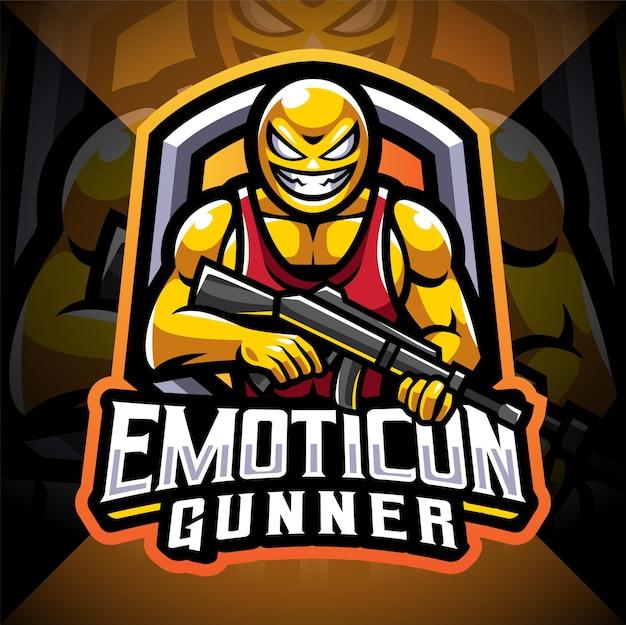 Emoticon schütze esport maskottchen logo design Premium Vektoren