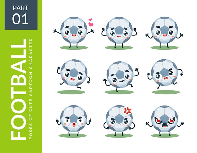 Emoticon-set fußball. erstes set. vektorillustration
