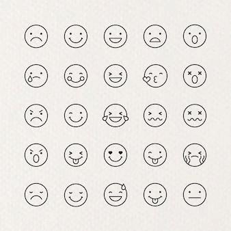Emoticon-set mit schwarzem umriss isoliert auf beigem hintergrund