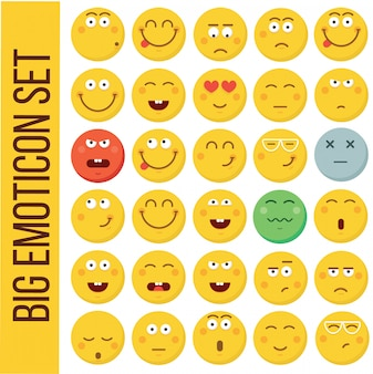 Emoticon-smiley. verschiedene emotionen sammlung