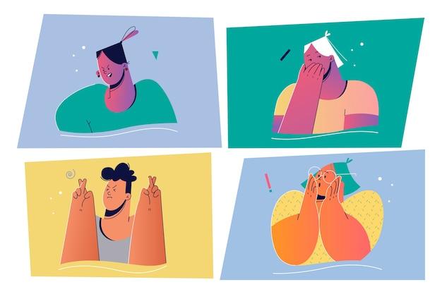 Emotion, gesichtsausdruck-set-konzept. positive und negative emotionale personenillustration für druck