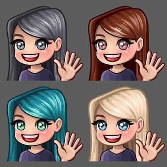 Emotion hallo symbole lächeln weiblich mit langen haaren für soziale netzwerke und aufkleber