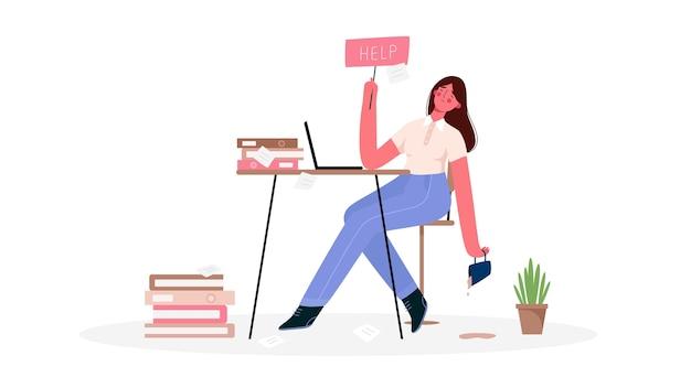 Emotionale burnout-frau, müde von der enormen menge an arbeit, sitzt an ihrem arbeitsplatz mit laptop im büro und hält das schild hilfe. frist, stress, depression bei der arbeit.
