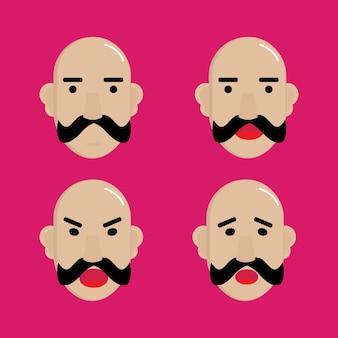 Emotionale Illustrationen auf einem rosa Hintergrund.
