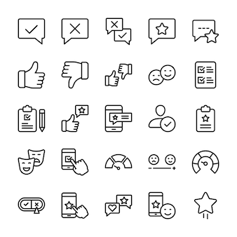 Emotionale meinung und checkliste linie icons pack