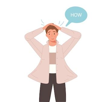 Emotionale sagen, wie aufgeregte reaktionen der mensch mit sprechblase konfrontiert. überraschter schöner junge.