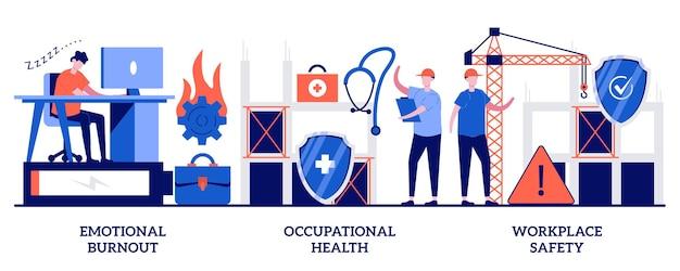 Emotionaler burnout, arbeitsschutz, arbeitssicherheitskonzept mit winzigen menschen. mitarbeiter-gesundheitsset. überlastung, verletzungsprävention, arbeitsbedingungen, metapher für die arbeitsumgebung.