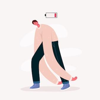 Emotionaler burnout-mann mit schwacher batterie. junger überarbeiteter mann, der sich erschöpft fühlt. harte arbeit. psychische störung, apathie idee.