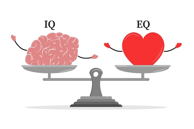 Emotionaler quotient und intelligenz herz und gehirn auf der waage