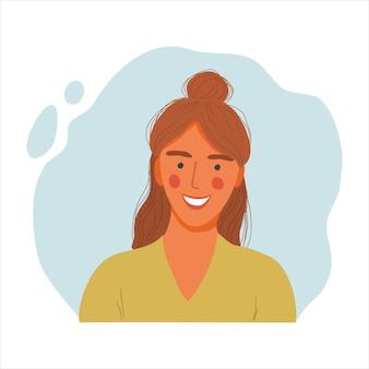 Emotionales frauenporträt, hand gezeichnete flache konzeptdesignillustration des mädchens, glückliche weibliche gesichts- und und schulteravataras.