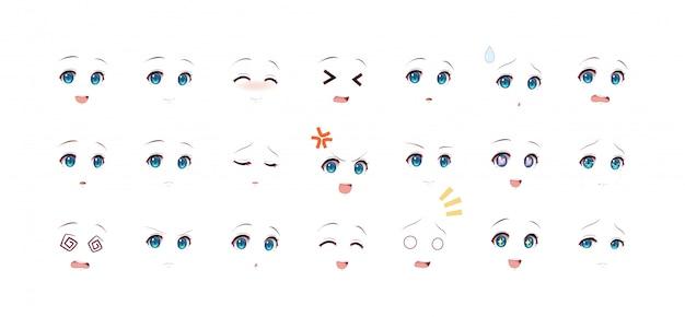 Emotionen augen von anime (manga) mädchen