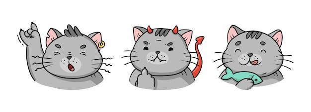 Emotionen einer grauen katze, eines rockers, eines bösen dämons und frisst fisch