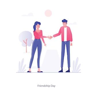 Emotionen oder verhalten von freunden freundschaft tag vektor im bearbeitbaren stil