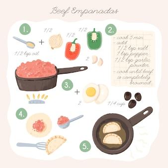 Empanada illustrationsrezeptkonzept