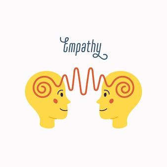 Empathie. empathie-konzept - silhouetten zweier menschlicher köpfe mit einem abstrakten bild von emotionen im inneren. im flachen karikaturstil auf weißem hintergrund
