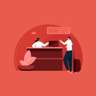 Empfang von freundlichen rezeptionisten des kunden-desk-konzepts am kunden-helpdesk