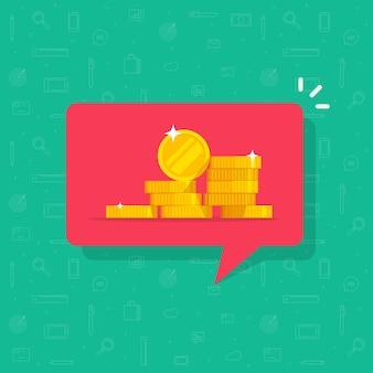 Empfangen einer geldmitteilung oder einer illustration einer eingehenden geldbenachrichtigungsnachricht