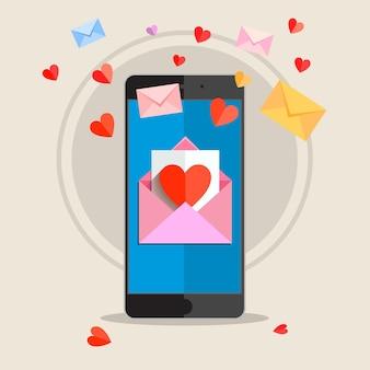 Empfangen oder senden von liebes-e-mails zum valentinstag.
