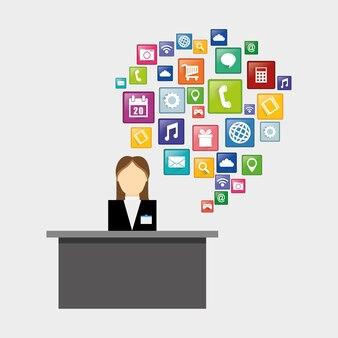 Empfangsdame für hotel- und digital-apps