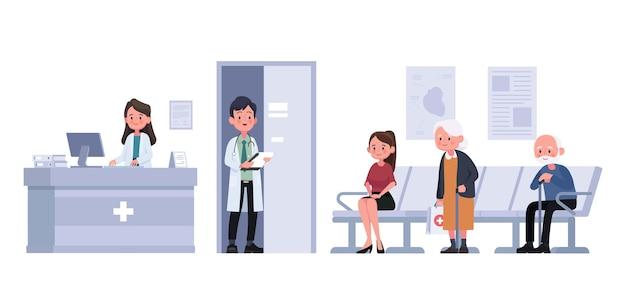 Empfangsdame und patienten sitzen und warten flach vor dem zimmer im krankenhaus. illustration zeichentrickfigur