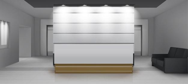Empfangsinnenraum mit aufzug, moderner foyerraum mit schreibtisch, beleuchtung, couch und aufzugstüren. leere halle oder lobbybereich mit weichem licht, zeitgenössischem dekor rendern, realistische 3d vektorillustration