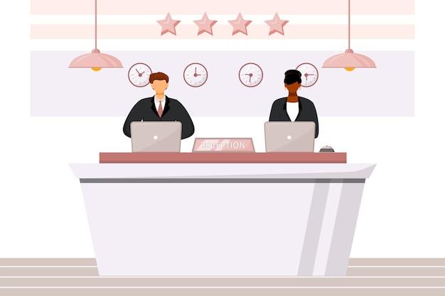 Empfangsmitarbeiter an der flachen farbillustration der rezeption. multikulturelles hotelpersonal. gastregistrierungsbereich, lobby. empfangsarbeiter isolierten zeichentrickfiguren auf weißem hintergrund