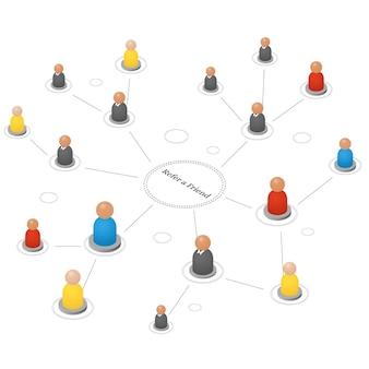 Empfehle einen freund. konzept der empfehlungen und follower im internet und in der wirtschaft. isometrische abstrakte personengruppe. teamwork-symbole. erfolgreicher leader und manager. vektor-illustration.