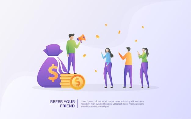 Empfehlen sie ein freund-konzept. affiliate-partnerschaft und geld verdienen. vermarktungsstrategie. empfehlungsprogramm und social media marketing.