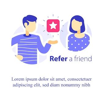 Empfehlen sie ein freund-konzept, ein empfehlungsprogramm, zwei personen sprechen, empfehlen sie eine bewerbung, fördern sie das unternehmen, erzählen sie etwas über den service