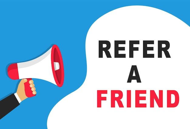 Empfehlen sie ein freunde-banner. megaphon in der hand. werbung, marketing für unternehmen..
