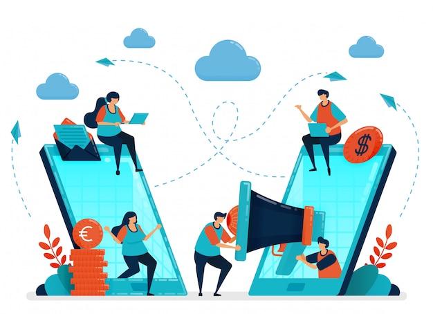 Empfehlen sie einen freund für ein partner- und empfehlungsprogramm. werbung und marketing mit handy-anzeigen und seo. smartphone-technologie, um menschen zu verbinden.