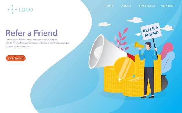 Empfehlen sie einen freund, landing page illustration