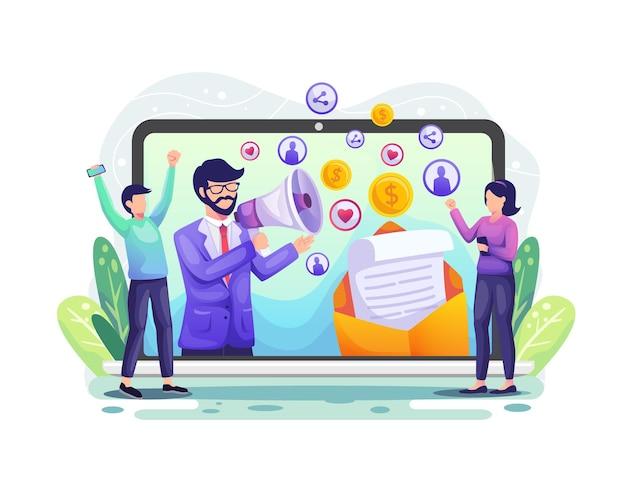 Empfehlung, affiliate-marketing, geschäftspartnerschaft. marketingstrategiekonzept