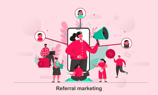 Empfehlungsmarketing-webkonzeptdesign im flachen stil mit winzigen personencharakteren
