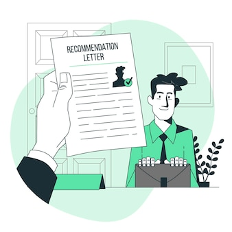 Empfehlungsschreiben konzept illustration
