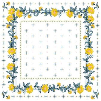 Empfindliche stimmung des silk schals mit blühendem nahtlosem muster der gelben blume in der bandanaart.