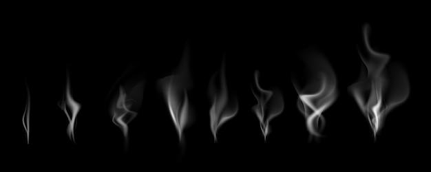 Empfindlicher weißer zigarettenrauch bewegt auf schwarze hintergrundvektorillustration wellenartig