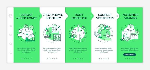 Empfohlene tägliche vitaminaufnahme onboarding vektor vorlage