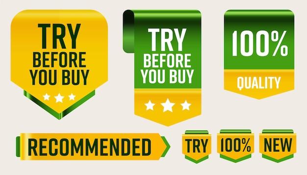Empfohlenes verkaufsetikett, schnupperzeiger, qualitätszeichen gesetzt. probieren sie vor dem kauf eine 100-prozentige qualitätsgarantie aus