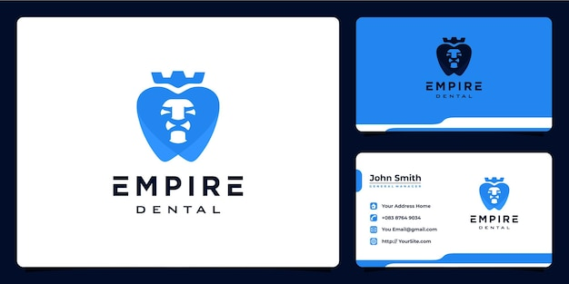 Empire-dentallöwe-logo-design und visitenkarte